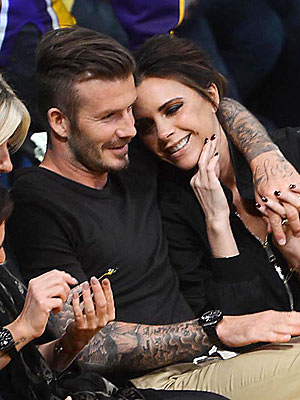 David and Victoria Beckham Moments - Lakers game