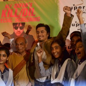 Ali Zafar and Raza Kazim with Sanjan Nagar students