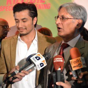 Ali Zafar and Aitezaz Ahsan at Kill Dil Screening for Sanajan Nagar
