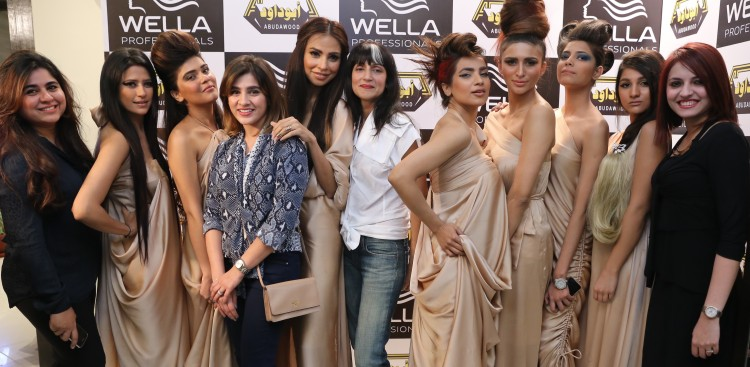 Models with Wella Team and designer for the night Sadaf Malaterre