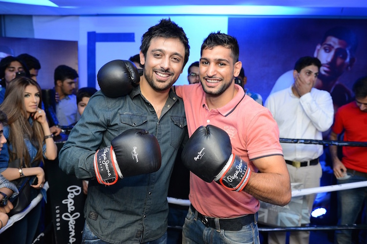 CEO Pepe Jeans Pakistan Saad Javed Akram with Boxing Champion Amir Khan
