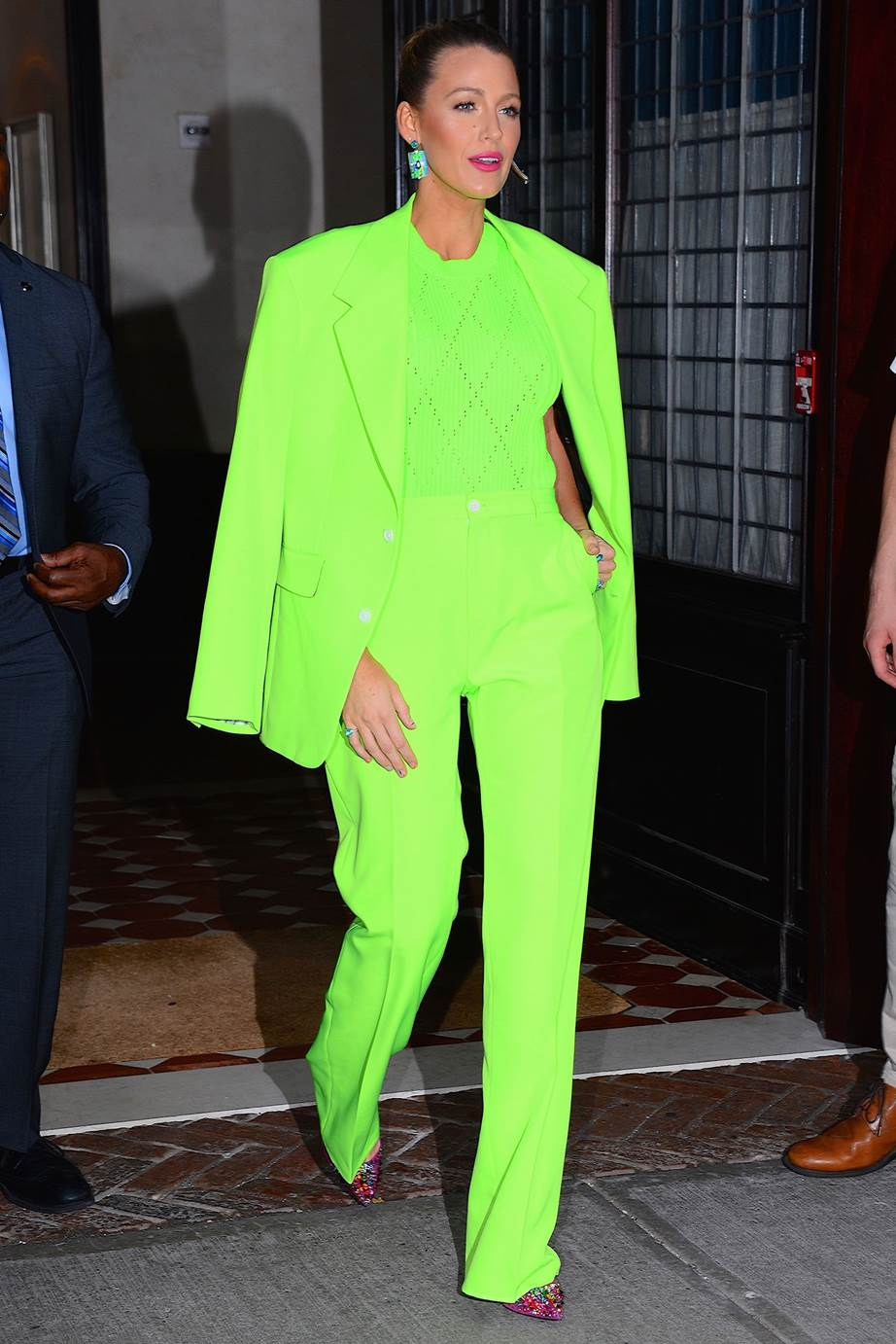 blake lively in neon monochrome pantsuit