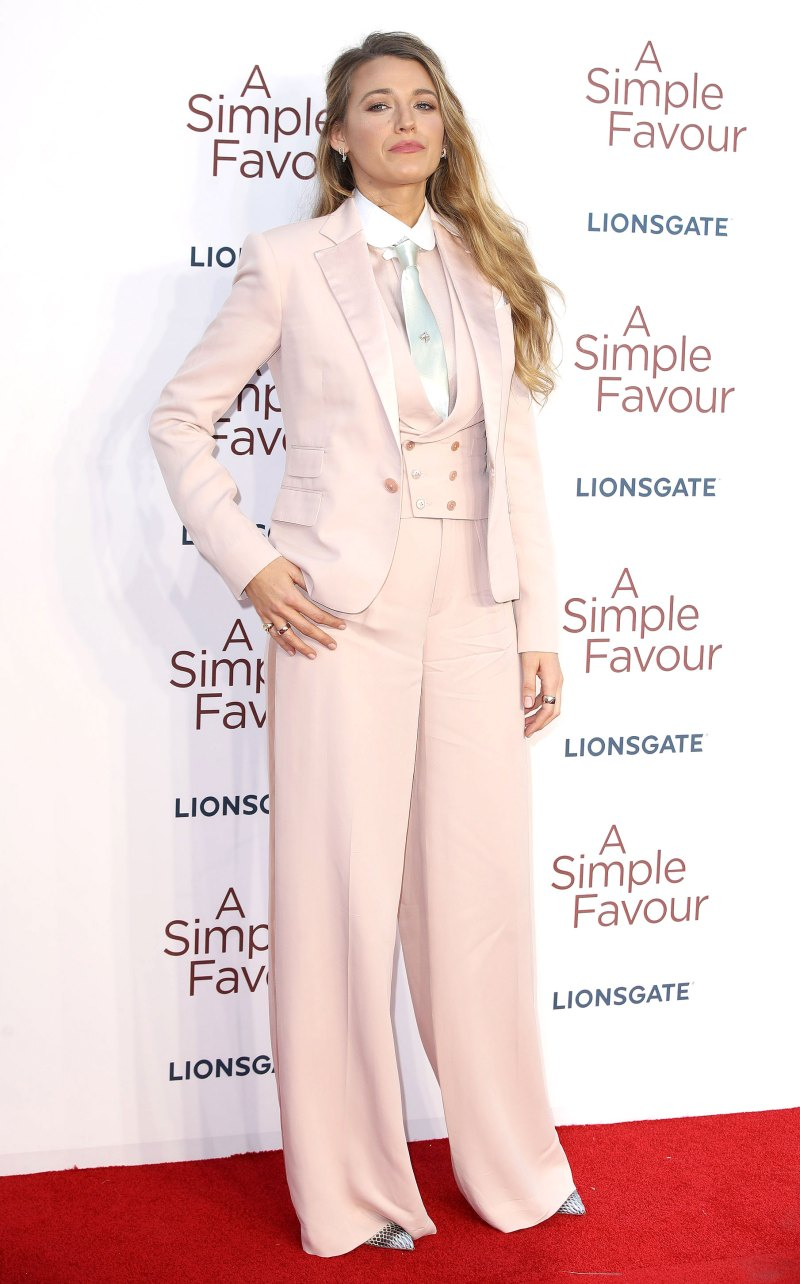 blake lively in pink three-piece suit