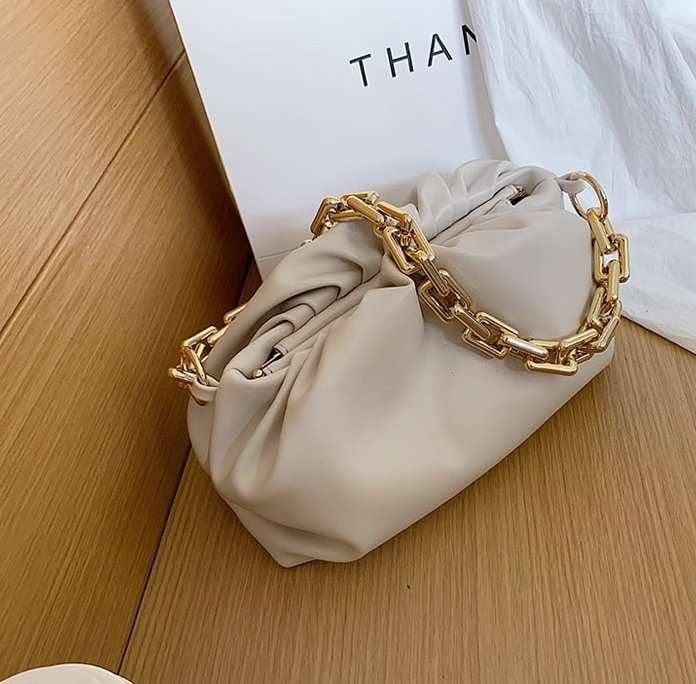 NEUTRALS: pouch clutch chain bag