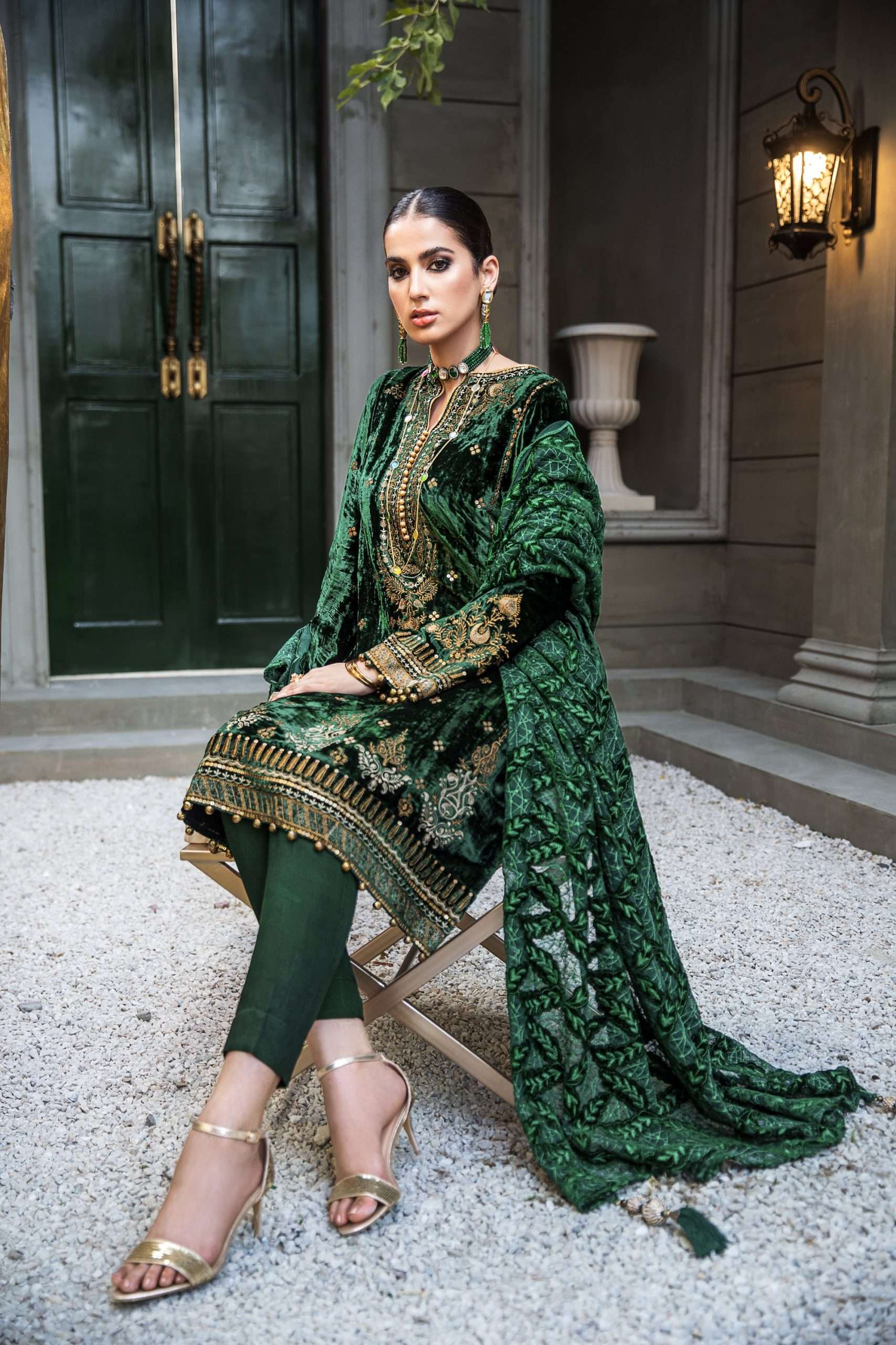 GUL AHMED WINTER COLLECTION 2020: Emerald Green